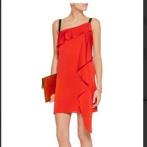 *Milly* Red Maya Draped Silk-Blend Dress Sz 2